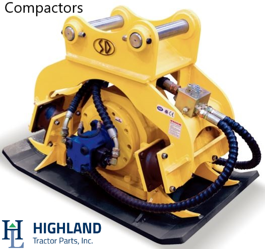 Compactor for excavators and backhoes. Hydraulic attachments for Komatsu, Caterpillar, Volvo, Hyundai, Hitachi, Kobelco, Doosan. Attachments for PC200, EC210B, R220LC-9S, EX200, 320D, SK210.